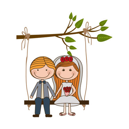 engagement party: colorful caricature married couple in swing hanging from a branch vector illustration