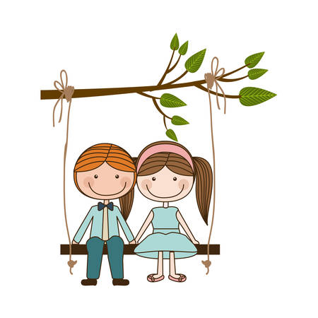 colorful caricature blond guy and girl with pigtails hairstyle sit in swing hanging from a branch vector illustration