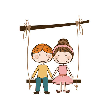 colorful caricature blond guy and girl with collected hairstyle sit in swing hanging from a branch vector illustration Illustration