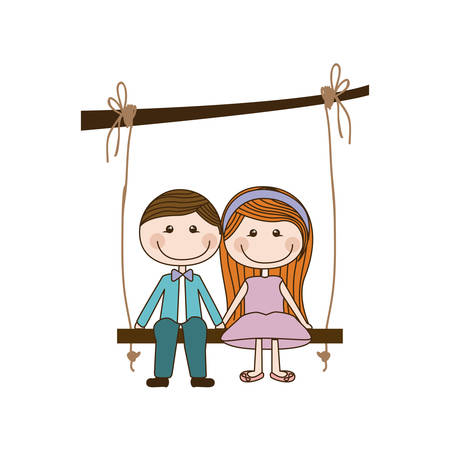 taken: colorful caricature couple sit in swing hanging from a branch vector illustration Illustration