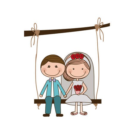 engagement party: colorful caricature married man and woman sit in swing hanging from a branch vector illustration Illustration