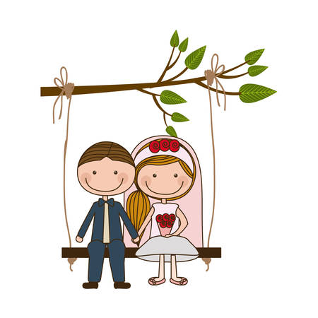 colorful caricature guy with formal suit and woman with side hairstyle sit in swing hanging from a branch vector illustration Illustration
