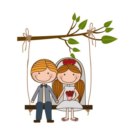 colorful caricature guy with formal suit and woman with pigtails hairstyle sit in swing hanging from a branch vector illustration Illustration