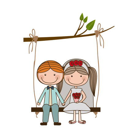 wedding dress: colorful caricature blond guy with formal suit and woman with pigtails hairstyle sit in swing hanging from a branch vector illustration