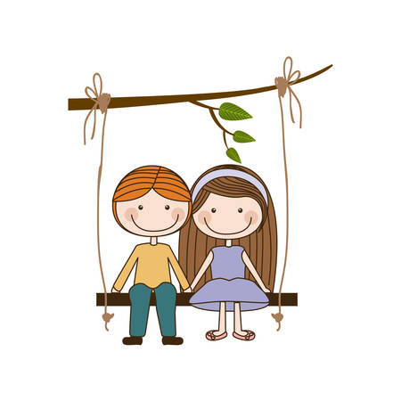 colorful caricature blond guy in formal suit and girl with brown long hair sit in swing hanging from a branch vector illustration Illustration