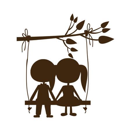 支店のベクトル図からぶら下がっているブランコに座っている茶色シルエット似顔絵の男性と女性  イラスト・ベクター素材
