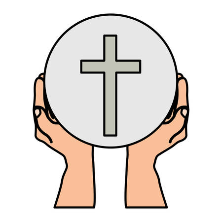 Colorful silhouette of hands holding sphere with cross symbol vector illustration.