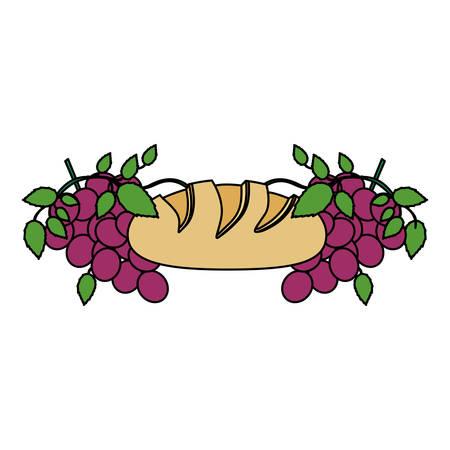 Kleurrijke achtergrond met kerkgemeenschap godsdienstige pictogrammen van brood en druiven vectorillustratie.