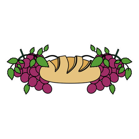 Colorful background with communion religious icons of bread and grapes vector illustration. Illustration