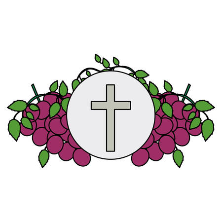 Colorful background with communion religious icons of grapes and christian cross vector illustration.