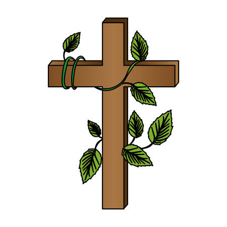 liturgy: white background with colorful wooden cross and creeper plant vector illustration Illustration