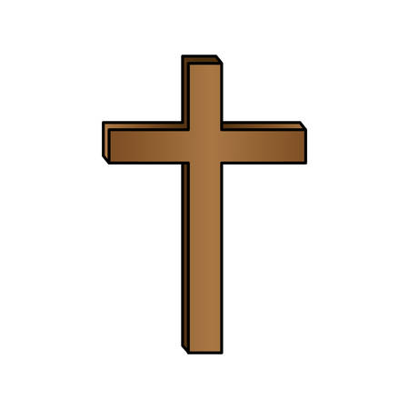 liturgy: white background with colorful wooden cross vector illustration