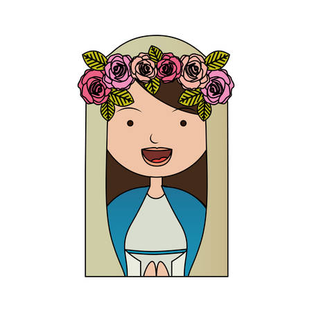 bible flower: White background of colorful half body beautiful virgin with crown of roses vector illustration.