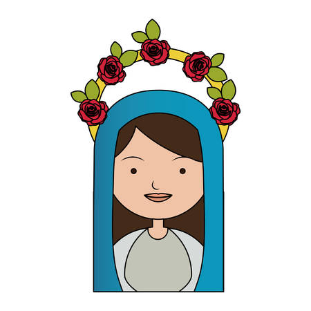 bible flower: White background of colorful half body beautiful virgin with crown of roses and blue mantle vector illustration. Illustration