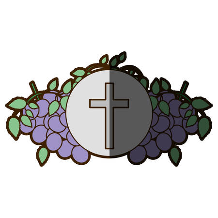 color background with communion religious icons of grapes and christian cross with half shadow vector illustration Illustration
