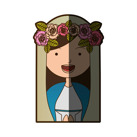 white background of colorful half body beautiful virgin with crown of roses with half shadow vector illustration Illustration