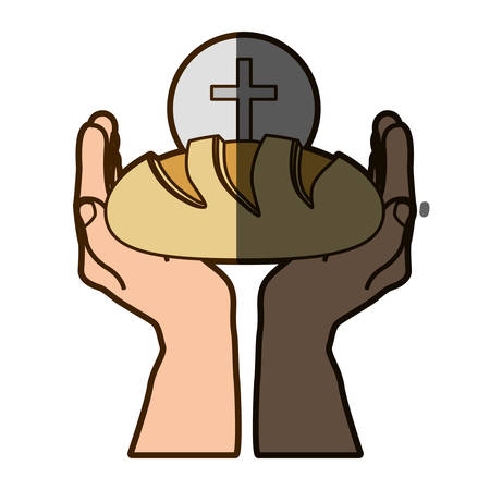 holy book: color silhouette of hands holding bread with sphere with cross symbol in background with half shadow vector illustration Illustration
