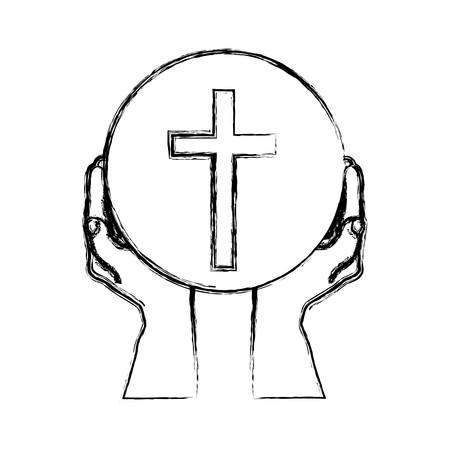 Monochrome sketch silhouette of hands holding sphere with cross symbol vector illustration.