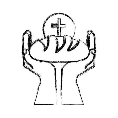 Monochrome sketch silhouette of hands holding bread with sphere with cross symbol vector illustration.