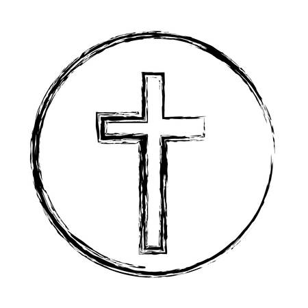 liturgy: Monochrome sketch silhouette of sphere with cross symbol vector illustration.