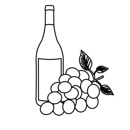 monochrome silhouette with bottle of wine and bunch of grapes vector illustration