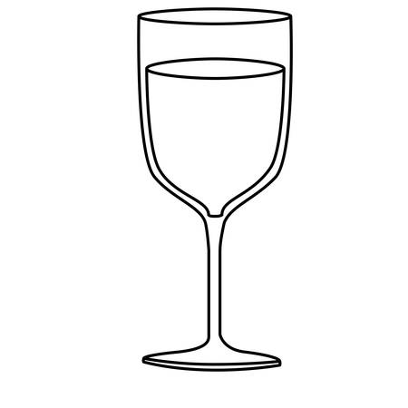 vermouth: monochrome silhouette of glass cup with champagne vector illustration