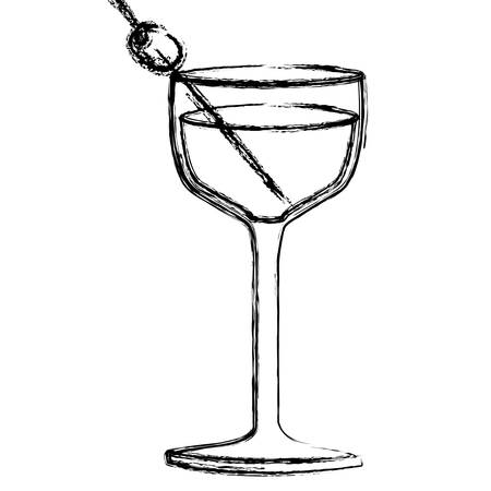 vermouth: monochrome sketch silhouette of glass cup cocktail vector illustration Illustration
