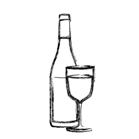 monochrome sketch silhouette with bottle of wine and glass vector illustration