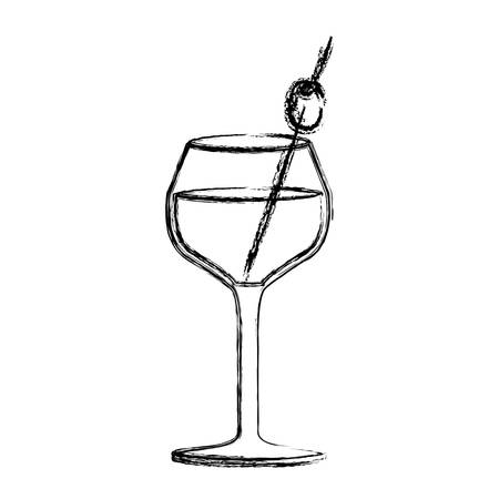 vermouth: monochrome sketch silhouette of burgundy glass cocktail vector illustration Illustration