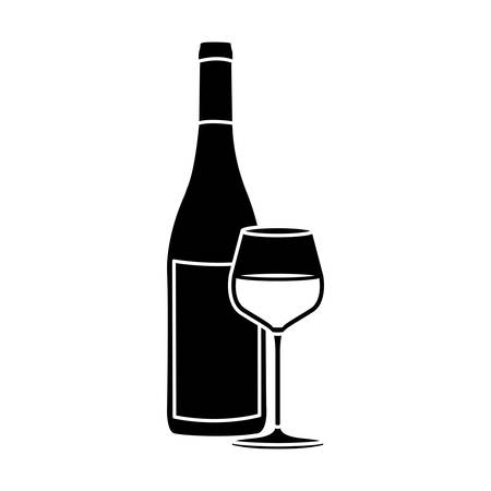 unopened: black silhouette with bottle of wine and burgundy glass vector illustration