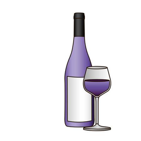 colorido silueta con una botella de vino púrpura y vidrio y delineado ilustración vectorial