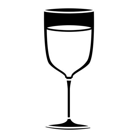 vermouth: black silhouette of glass cup of champagne vector illustration