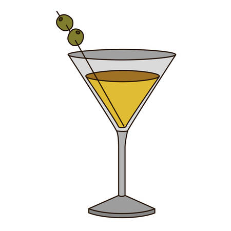 light coloured silhouette of drink cocktail glass vermouth vector illustration Illustration