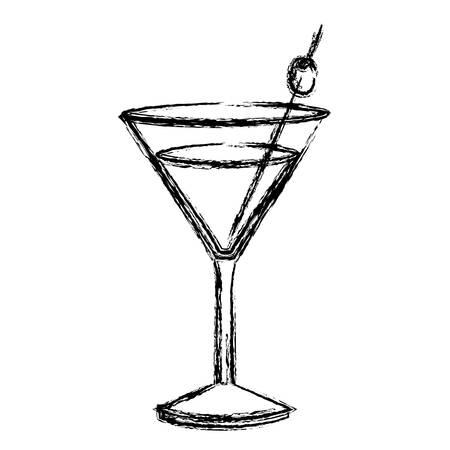 Monocromo bosquejo silueta de bebida cóctel vidrio vermú ilustración vectorial