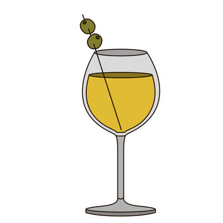 light coloured silhouette of burgundy glass cocktail with olive fruit vector illustration Illustration