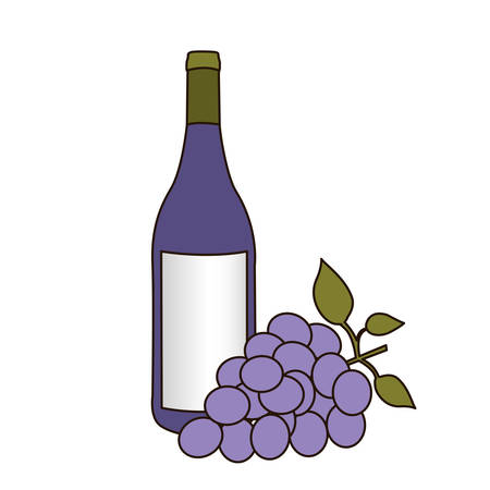 light coloured silhouette with bottle of purple wine and bunch of grapes vector illustration