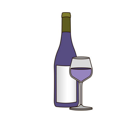 light coloured silhouette with bottle of purple wine and glass vector illustration