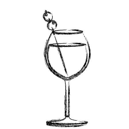 vermouth: monochrome sketch silhouette of burgundy glass cocktail with olive fruit vector illustration