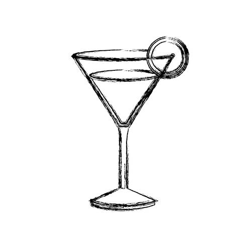 vermouth: monochrome sketch silhouette of drink cocktail glass vermouth with slice of lemon vector illustration