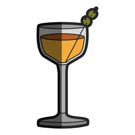 light coloured silhouette of glass cocktail with olive fruit with half shadow vector illustration Illustration