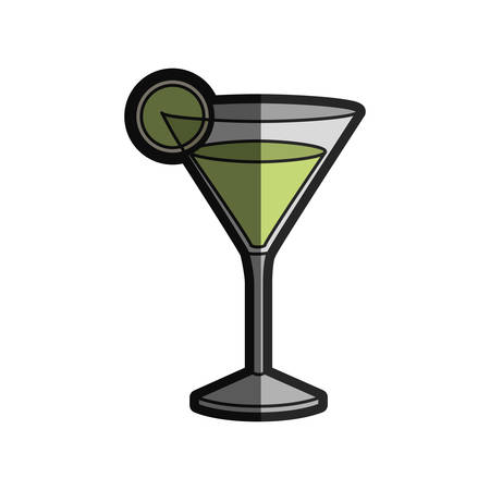 gin: light coloured silhouette of drink cocktail glass vermouth with slice of lemon with half shadow vector illustration