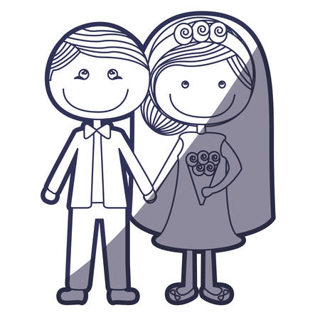 wedding dress: blue color contour caricature groom with formal suit and bride with collected hairstyle vector illustration