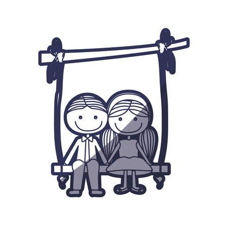 footwear: blue color contour caricature guy in formal suit and girl with pigtails hairstyle sit in swing hanging from a branch vector illustration