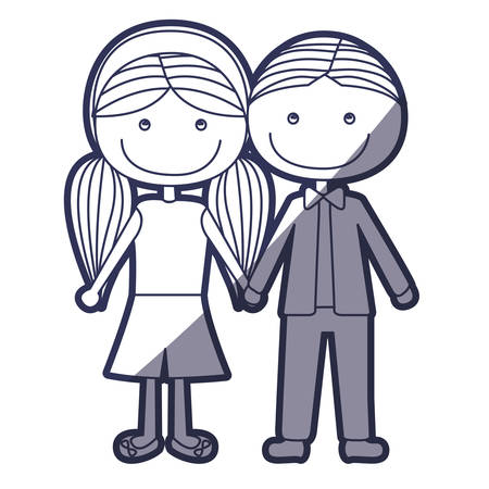 boy long hair: blue color contour caricature boy short hair and girl pigtails hairstyle with taken hands vector illustration Illustration
