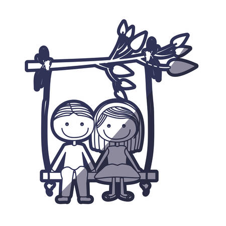 blue color contour caricature guy with informal suit and girl with short hair sit in swing hanging from a branch vector illustration Illustration