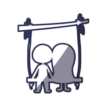 wedding dress: blue color contour caricature married couple in love sit in swing hanging from a branch vector illustration Illustration