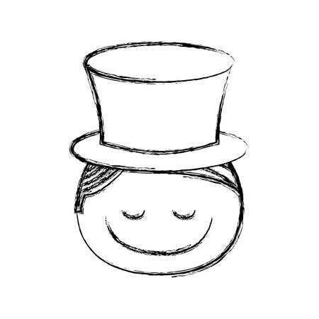 boca cerrada: Borrosa silueta caricatura cara frontal muchacho con tapa y ojos cerrados ilustración vectorial
