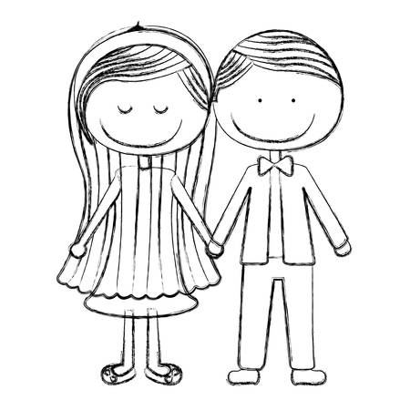 taken: blurred silhouette caricature couple in suit formal with taken hands vector illustration