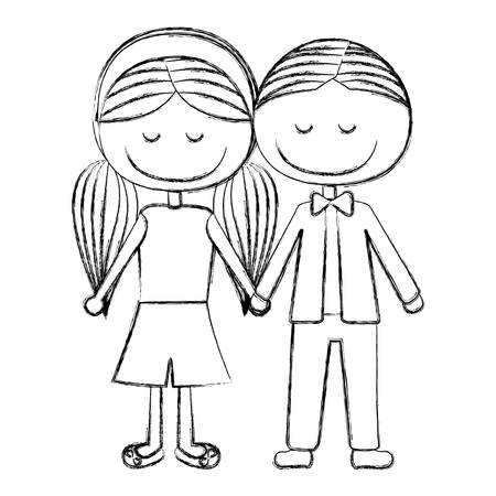 blurred silhouette caricature boy short hair and girl pigtails hairstyle with taken hands vector illustration Illustration