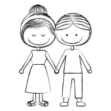 happy woman: blurred silhouette caricature man with informal suit and woman collected hairstyle with taken hands vector illustration